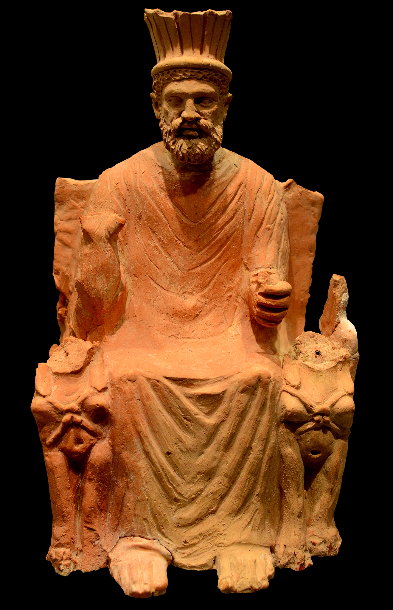 Baal Hammon on a throne terracotta statue