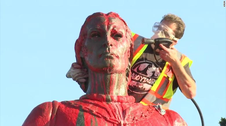 Christopher Columbus statues vandalized