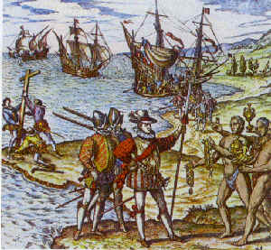 Columbus landing on Hispaniola paint