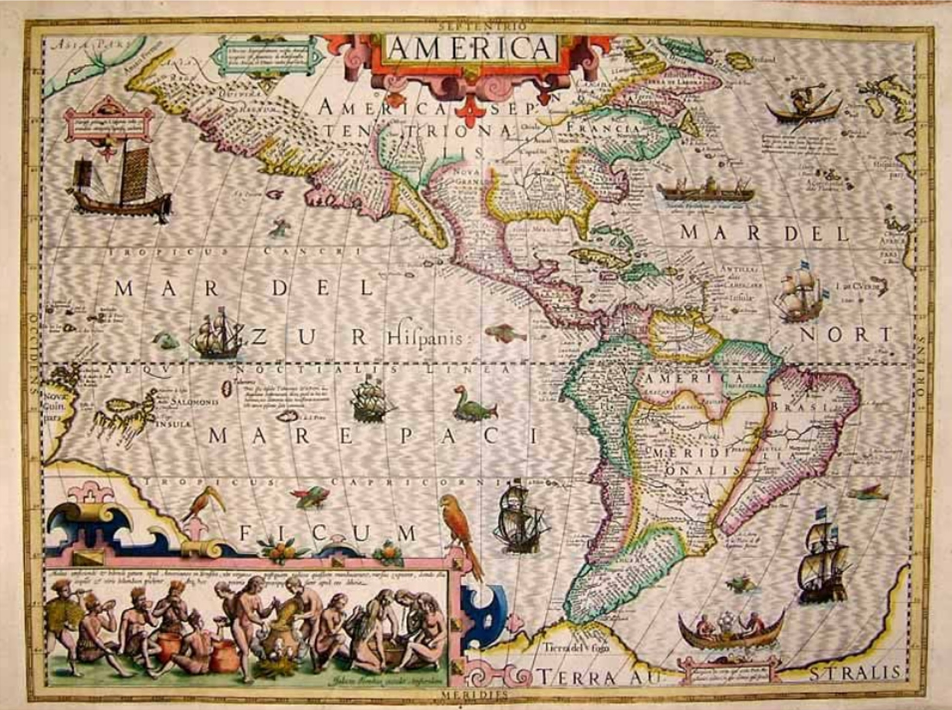 Jodocus Hondius Antique map of America