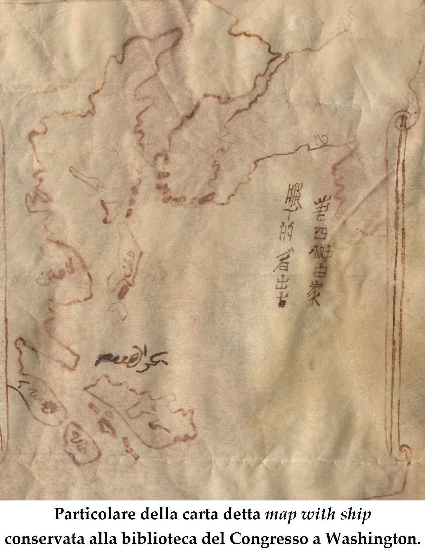 carta map with ship