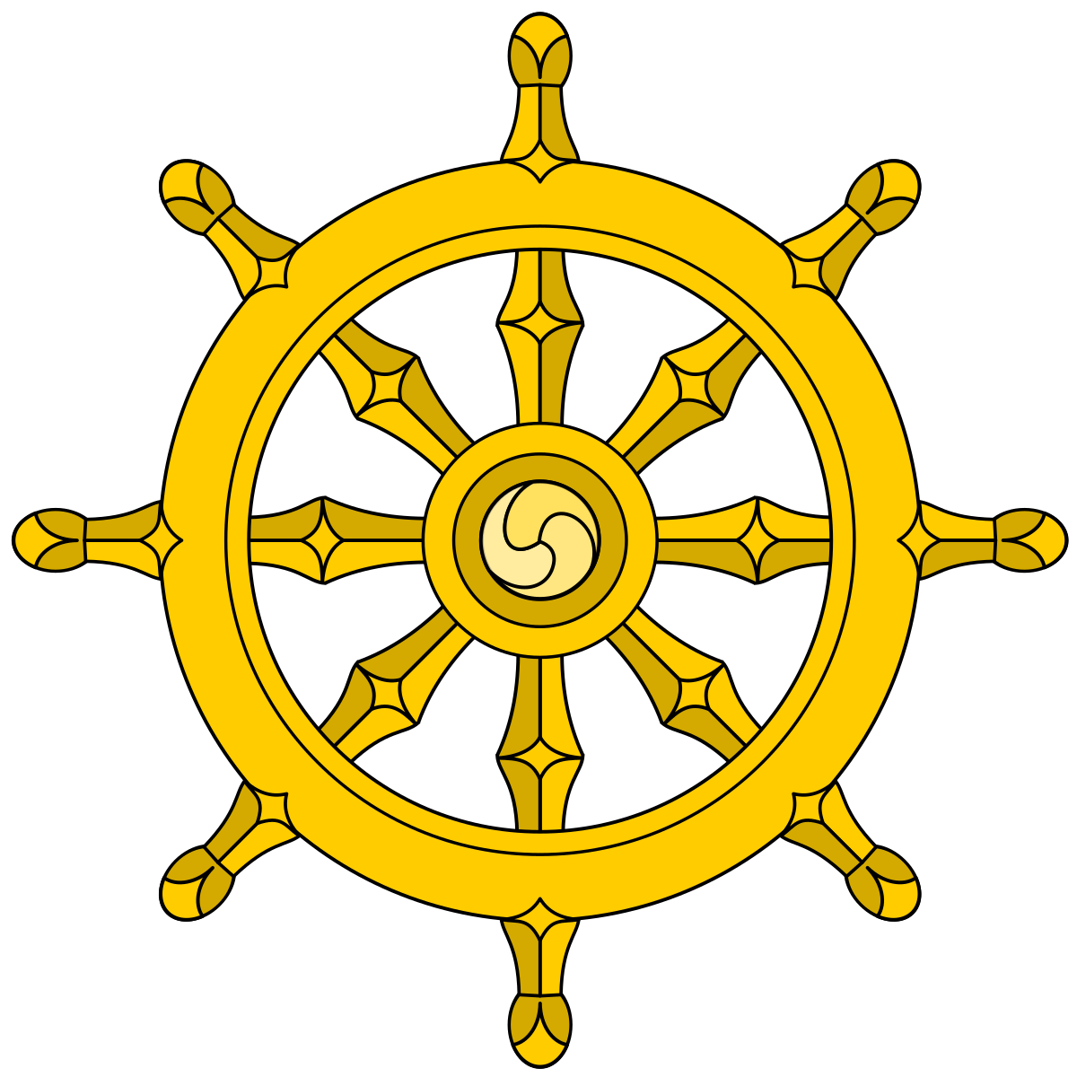 eight spoked dharmachakr represent the Noble Eightfold Path of Buddhism