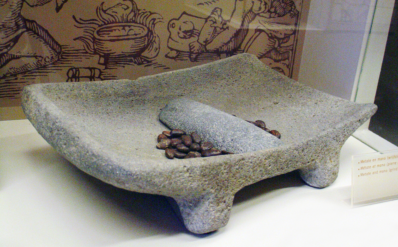 mortaio mano metate