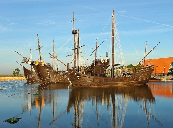 the caravels of Christopher Columbus discovering america palos de la frontera huelva province Spain